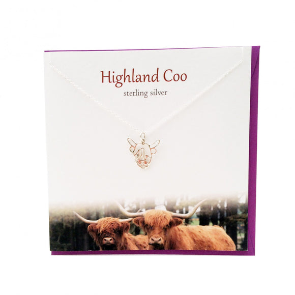 The Silver Studio Scottish Highland Cow Coo Necklace Pendant Card & Gift Set