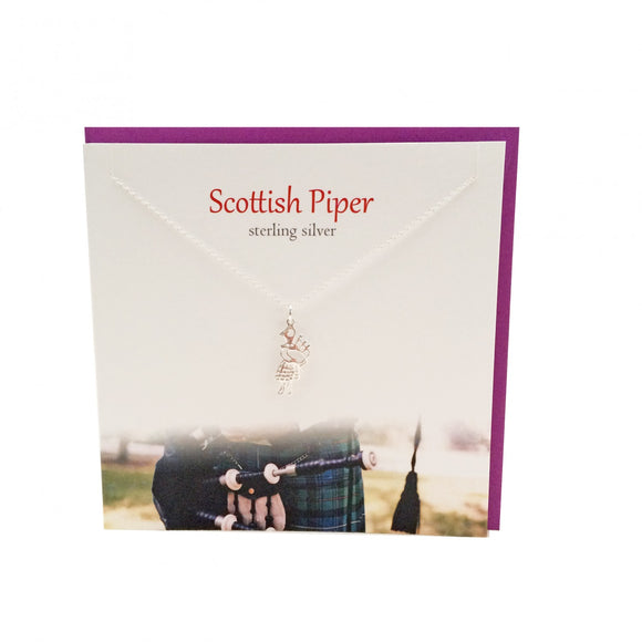 The Silver Studio Scottish Piper Bagpipe Necklace Pendant Card & Gift Set