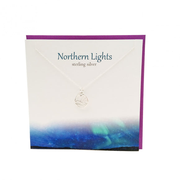 The Silver Studio Northern Lights Scene Necklace Pendant Card & Gift Set