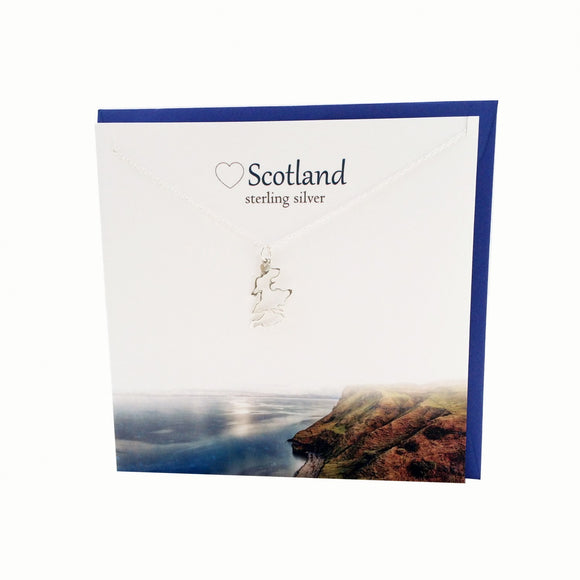 The Silver Studio Scotland Scottish Map Silhouette Necklace Pendant Card & Gift Set