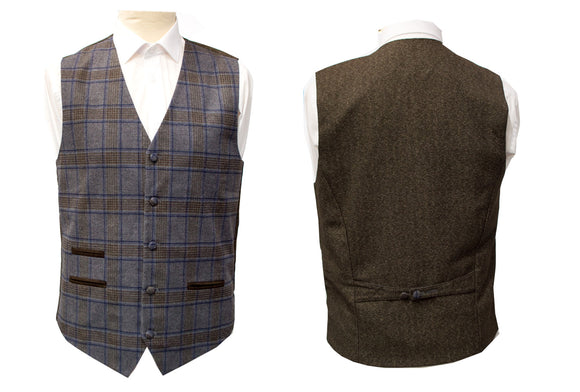 Classic Grey Blue Brown Check Regular Fit Wool Waistcoat Gilet Vest with Contrast Backing