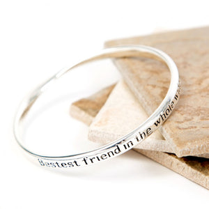 Love The Links Silver Bestest Friend In The Whole World Quote Message Bangle