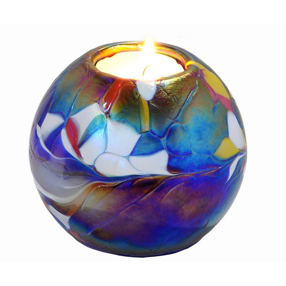 D & J Glassware 2 Way Marble Glass Tealight Candle Holder