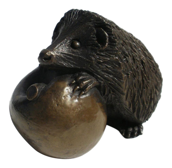 Oriele Cold Cast Bronze Large Hedgehog & Apple Figure Figurine Decoration