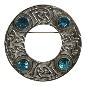 Art Pewter Celtic Interlace Scarf Sash Dance Plaid Brooch With Turquoise Blue Stone Insets