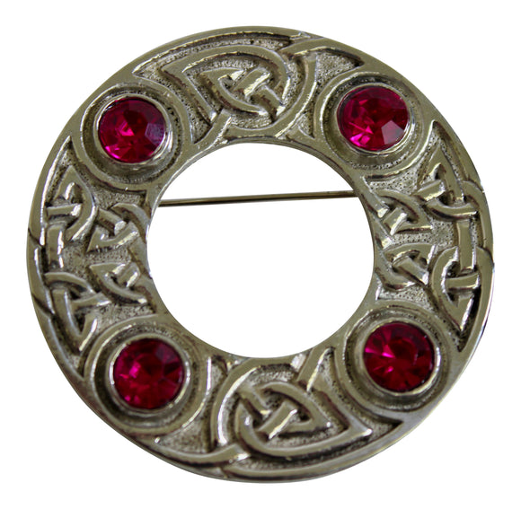 Art Pewter Celtic Interlace Scarf Sash Dance Plaid Brooch With Cerise Bright Pink Stone Insets