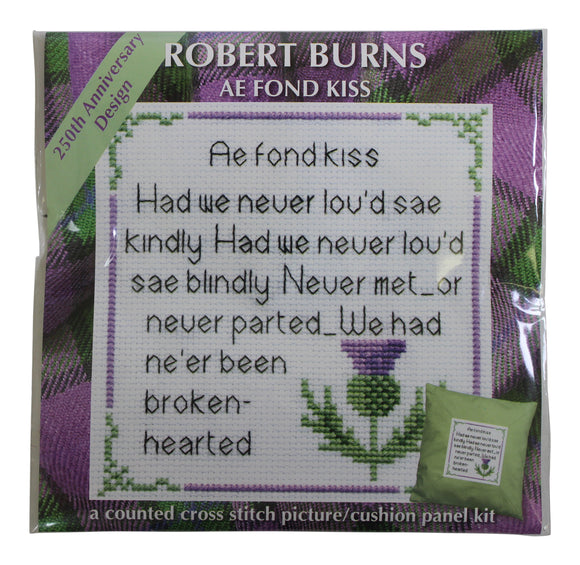 Robert Burns Ae Fond Kiss Poem Picture Cushion Panel Cross Stitch Kit