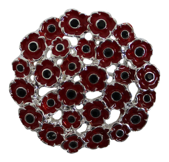 Alexander Thurlow Round Pretty Red Poppy Flower Brooch Pin