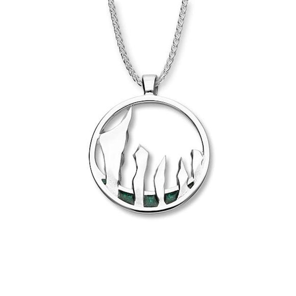 Ortak Scotland Half Moon Standing Stones Soltice Range Orkney Neolithic Stones Sterling Silver Pendant Necklace