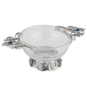 Stunning Pewter & Glass Celtic Design & Blue Stone Toasting Celebration Quaich