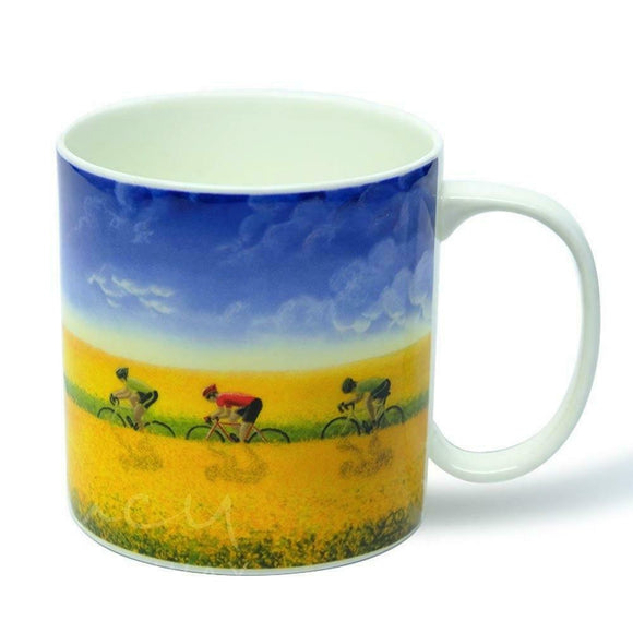 Lucy Pittaway 'Golden Fields' Scenic Cycling Cyclist Bike Bone China Mug Cup