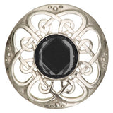 Scottish Polished Pewter Culloden Plaid Sash Brooch with Stone Insert