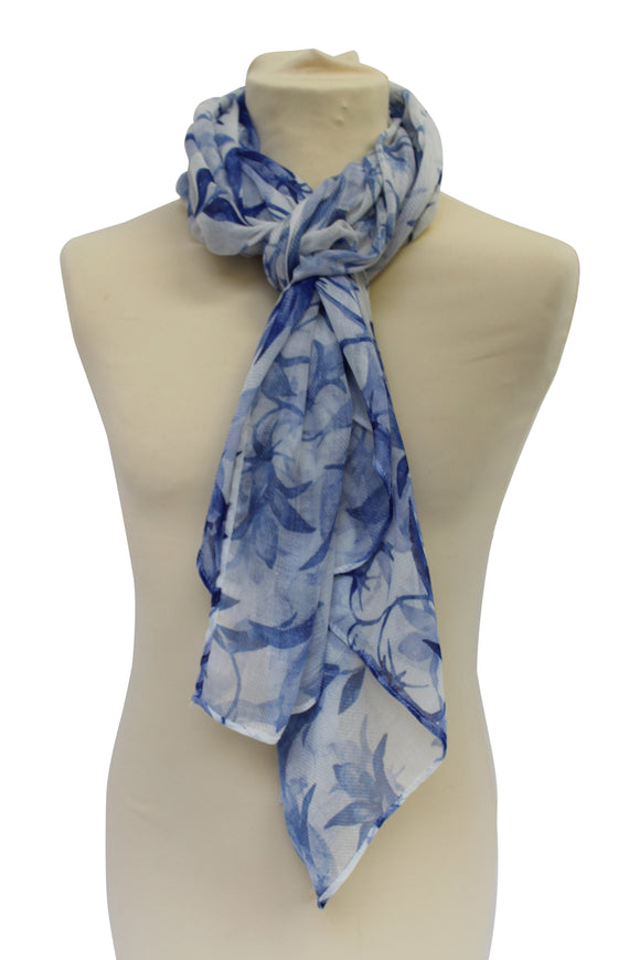 Alexander Thurlow White Bluebell Flower Twilled Polyester Scarf