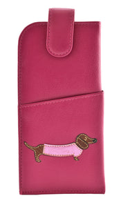 Mala Pink Grey Black Leather Dachshund Dog Puppy Glasses Specs Case