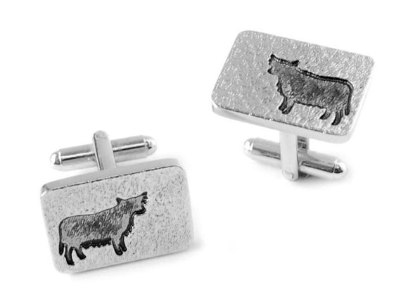 Stunning Scottish Highland Cow Coo Silhouette Cufflinks in Brushed Pewter