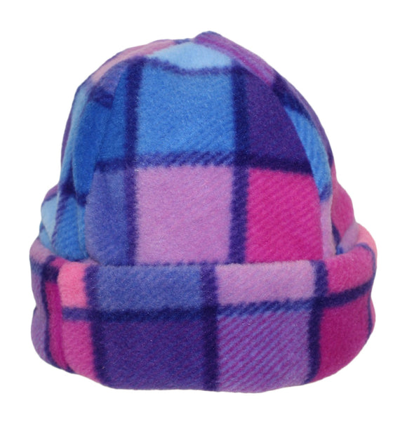 Ramblers Cosy Pink & Purple Check Child's Sherpa Fleece Hat
