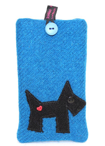 Loobie & Boo Blue Scottie Dog Harris Tweed Harris Tweed Glasses Specs Cover Case