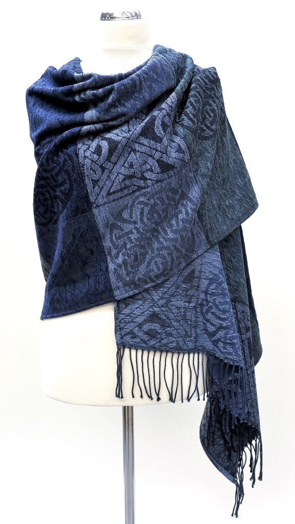 Calzeat of Scotland Scottish Celtic Knot Stirling Navy Blue Jacquard Shawl Wrap