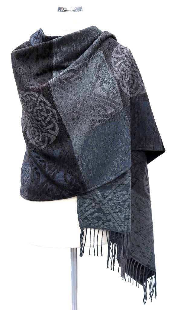 Calzeat of Scotland Scottish Celtic Knot Slate Grey Blue Jacquard Shawl Wrap
