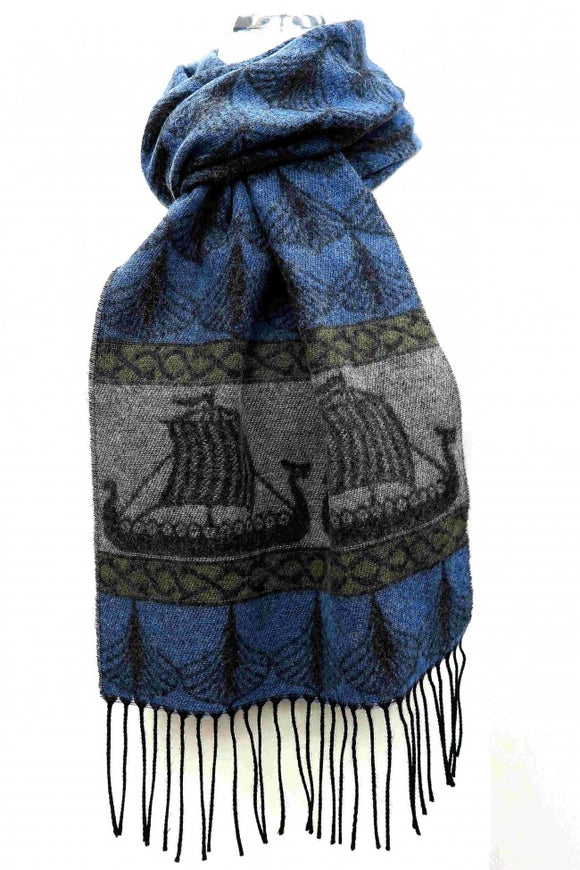 Calzeat of Scotland Blue Grey Green Viking Ships Dragon Jacquard Wool Scarf