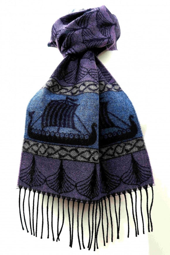Calzeat of Scotland Blue & Purple Viking Ships Dragon Jacquard Wool Scarf