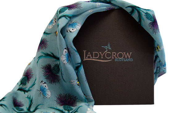Ladycrow Luxurious Handprinted Silk Chiffon Scarf in Green with Thistles and Bees