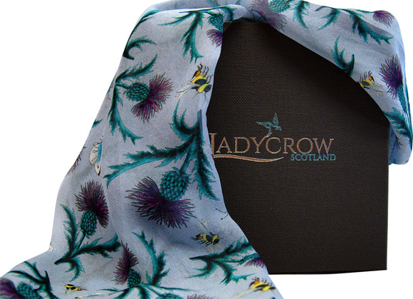 Ladycrow Luxurious Handprinted Silk Chiffon Scarf in Blue with Thistles and Bees