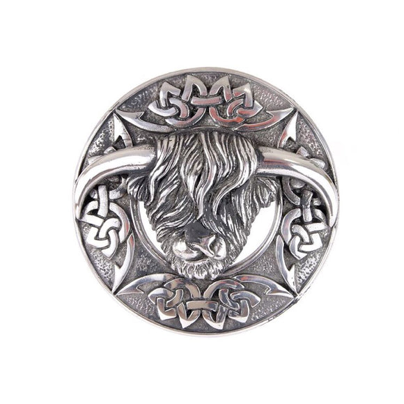Traditional Scottish Chrome Matte Antique Highland Cow Coo Kilt Plaid Shawl Sash Brooch Pin