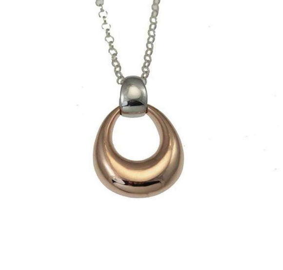 Christin Ranger Sterling Silver and Rose Gold Droplet Waltz Pendant Necklace