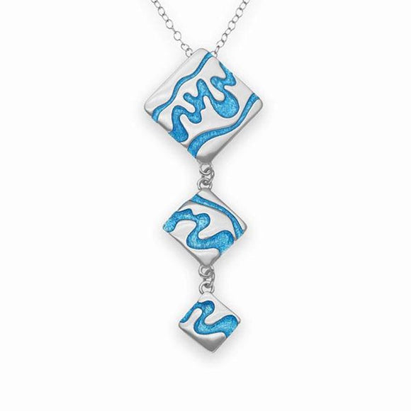 Ortak Scotland 'Delta' Blue Waves Trio Sterling Silver Necklace Pendant