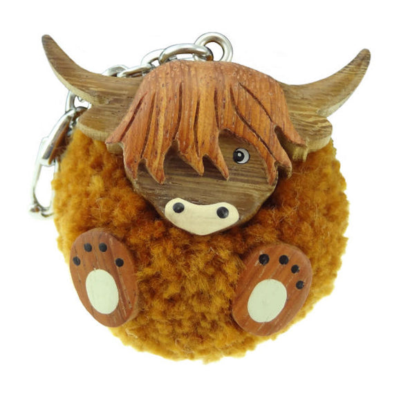 Orange Brown Pom Pom Highland Cow Coo Key Chain Ring Charm