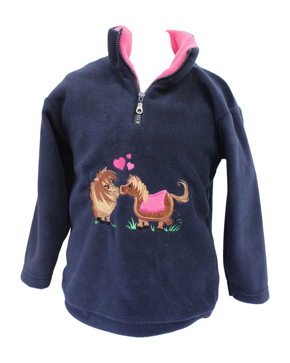 Ramblers Navy Pony Horse Love Child's Sherpa Zip Fleece