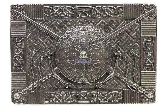 Gaelic Themes Scottish 'Great Sword' Claymore & Targe Sheild Kilt Belt Buckle