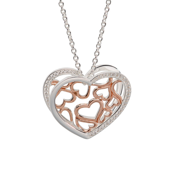 Unique & Co Sterling Silver 3D Love Heart Necklace With Rose Gold Plated Detailing