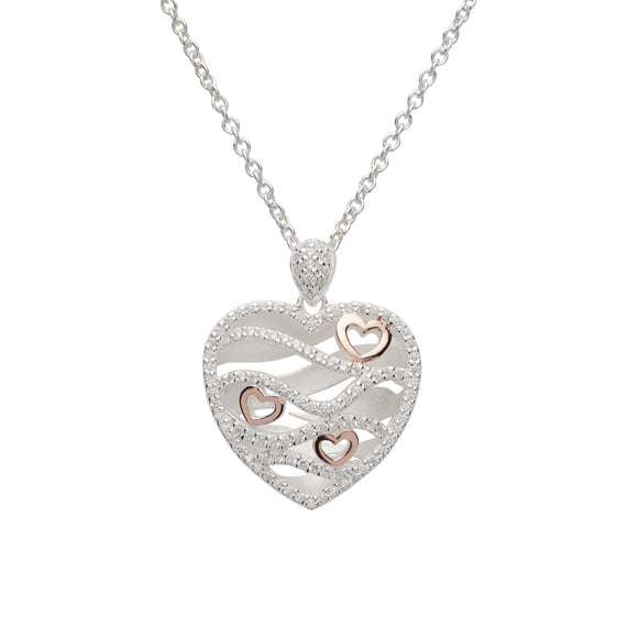 Unique & Co Sterling Silver & Rose Gold Plated Diamante Love Heart Necklace
