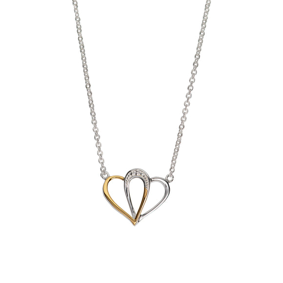 Unique & Co Sterling Silver & Yellow Gold Plated Interlocking Double Love Heart Necklace Pendant
