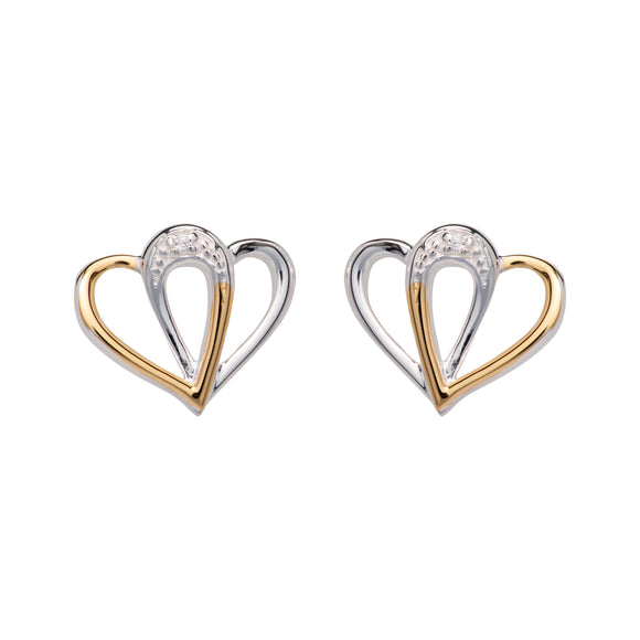 Unique & Co Sterling Silver & Yellow Gold Plated Interlocking Double Love Heart Stud Earrings
