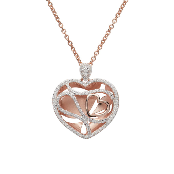 Unique & Co Sterling Silver & Rose Gold Plated Diamante Love Heart Necklace Pendant