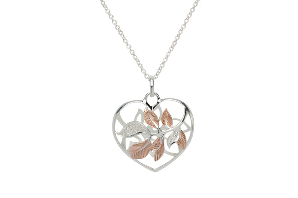 Unique & Co Sterling Silver & Rose Gold Plated Leaf Love Heart Necklace Pendant