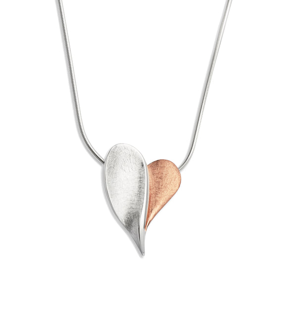 Unique & Co Sterling Silver & Rose Gold Plated Overlapping Love Heart Necklace Pendant