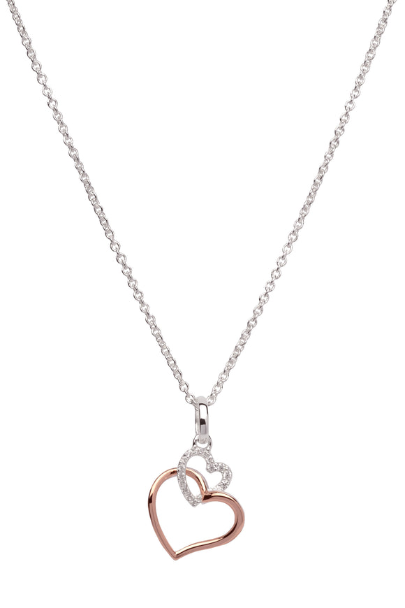 Unique & Co Sterling Silver & Rose Gold Plated Intertwined Love Heart Necklace Pendant