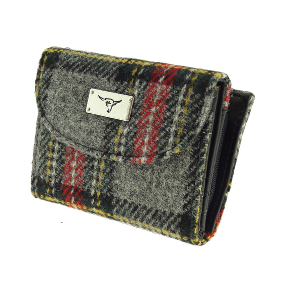 Glen Appin Of Scotland Grey Red Yellow Tartan Check Harris Tweed Jura Short Ladies Purse Wallet