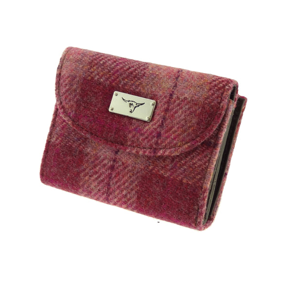 Glen Appin Of Scotland 'Salmon' Pink Tartan Check Harris Tweed Jura Short Ladies Purse Wallet