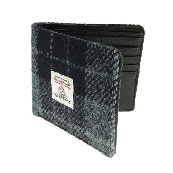 Glen Appin Of Scotland Grey & Black Tartan Check Harris Tweed Mens Gents Mull Wallet