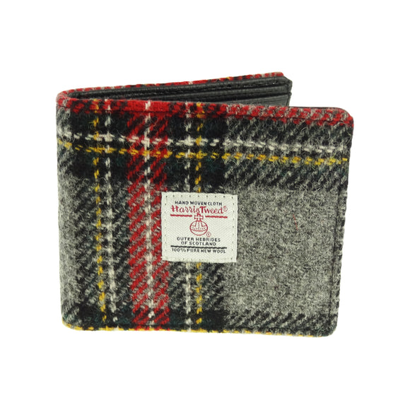 Glen Appin Of Scotland Grey Red Yellow Tartan Check Harris Tweed Mens Gents Mull Wallet