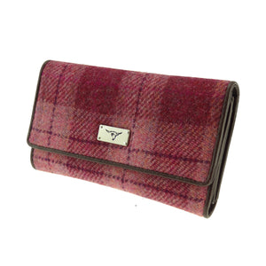Glen Appin Of Scotland 'Salmon' Pink Tartan Check Harris Tweed Ladies Tiree Flap Over Purse Wallet