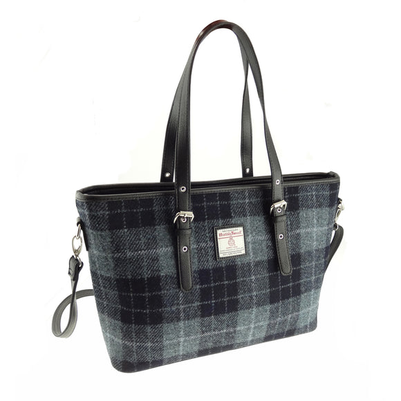 Glen Appin Of Scotland Harris Tweed 'Spey' Classic Grey & Black Ladies Tote Grab Handbag Purse