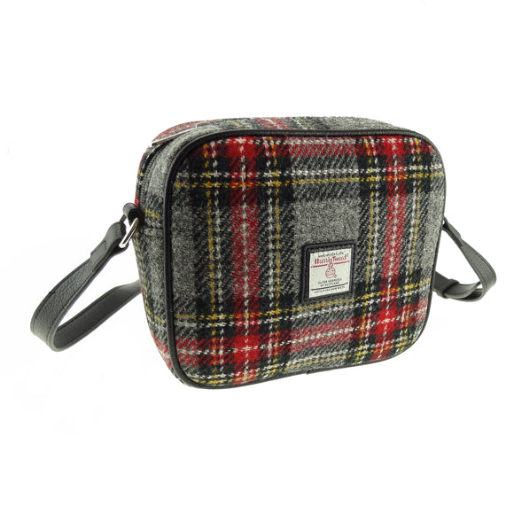 Glen Appin Of Scotland Harris Tweed Grey Red Yellow Tartan Check Mini Handbag Purse