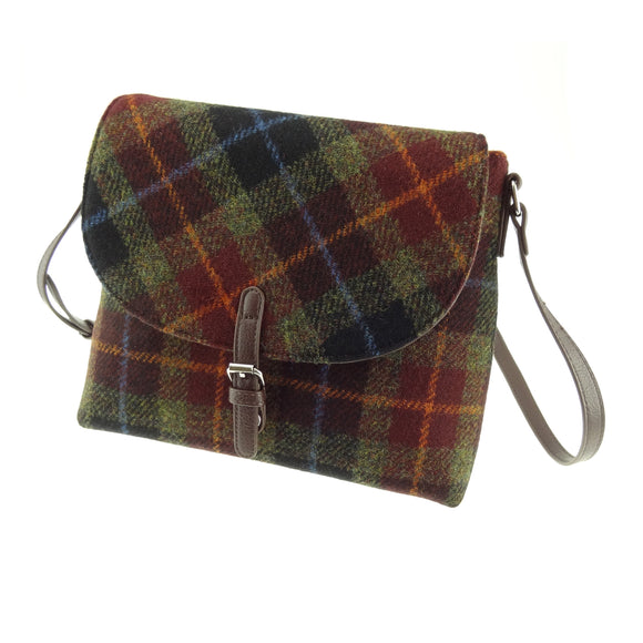 Glen Appin Of Scotland Harris Tweed 'Rust' Brown Blue Green Tartan Check 'Torridon' Shoulder Handbag Purse