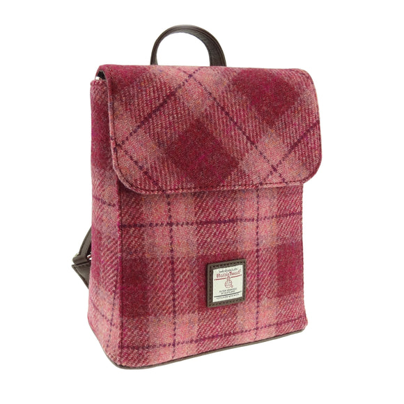 Glen Appin Of Scotland Harris Tweed Salmon Pink Tartan Check 'Mini' Backpack Handbag Purse